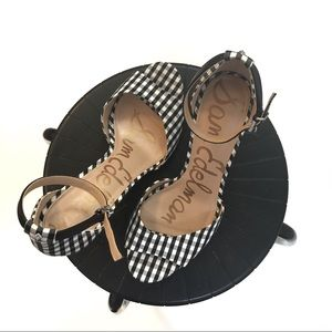 Sam Edelman Porchia Gingham B&W Checkers Sz 10